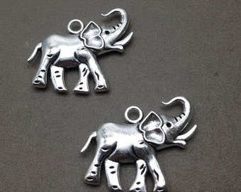 10 pcs Two-Sided Antique Silver Elephant Charms 26x37mm