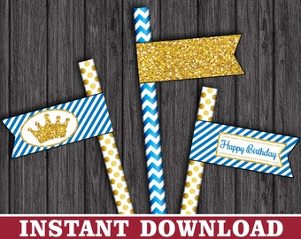Prince Straw Flags - Prince Thank You Party Straw Drink Tags - Printable Digital File - INSTANT DOWNLOAD