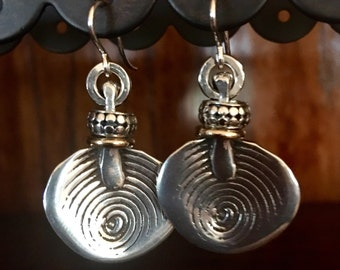 Unique artisan sterling silver earrings with a gold filled accessory