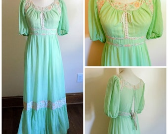 70s Dress, Bohemian, Hippie, Festival, Vintage, 1970s, Light Green, Small, Maxi Dress, Puff Sleeves, Bridesmaid, 70s Prom, Womens Vintage