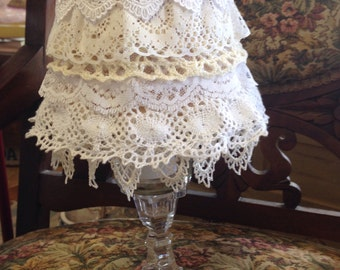 SALE! Tea Light Lamp with Shabby Chic Lace Lamp Shade ~ Rows of Lace Lamp Shade with Glass Tea Light Holder ~ French Cottage Shabby Chic Lam