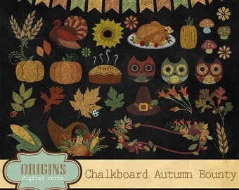 Chalkboard Autumn Bounty Clipart, Chalk Thanksgiving Clipart, Fall Autumn Bounty Chalkboard Clip art Digital Paper Scrapbook