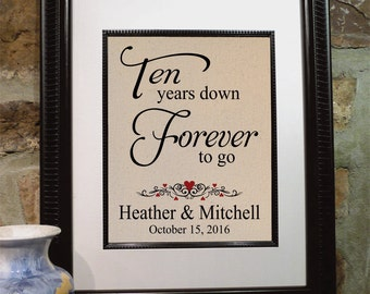 10 Anniversary Gift for Her, 10 Years Down - Forever to Go, Personalized Print, Gift for Wife, Gift for Husband,  ANY Year Available (208)