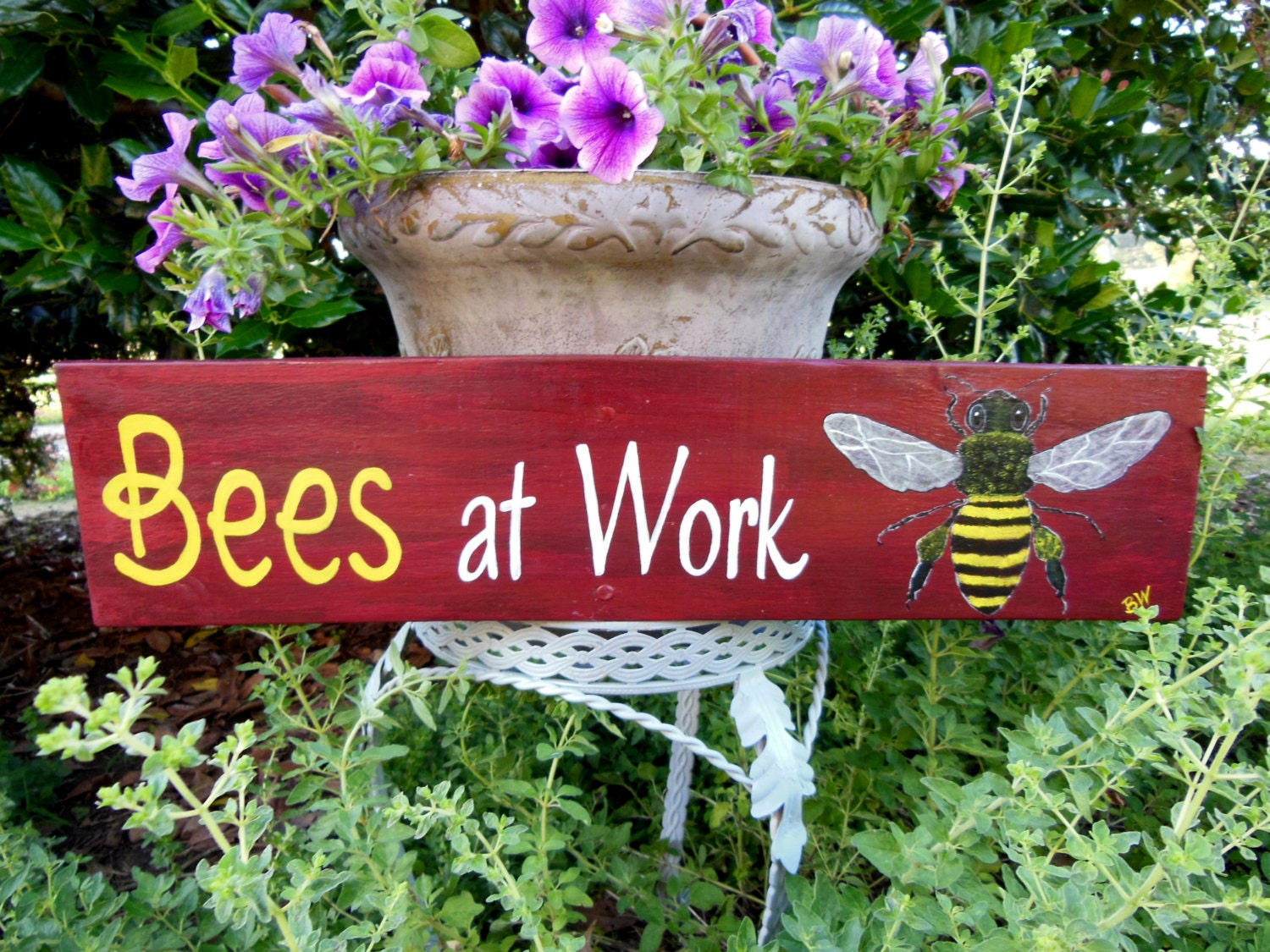 ... Bees At Work Bee Sign Garden Decor Beekeeper Sign Apiary ...