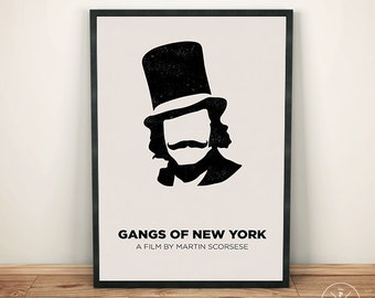 Gangs of New York Inspired Art, Minimalist Movie Poster, Home Office Decor, Martin Scorsese, Minimalist Gift Idea, Birthday Christmas Gift