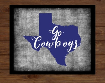DIGITAL DOWNLOAD Dallas Cowboys - Royal Blue White - Sports NFL Team Sports Home Decor Gift - Texas
