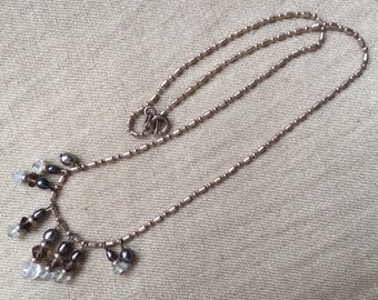 Pearl crystal sterling chain necklace -- 533
