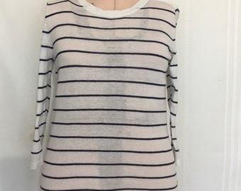 Vintage navy striped T shirt nautical top  Peter Nygard Petit size Large