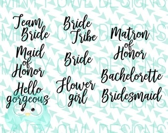 SVG Cut File - Wedding Bridal Party - Bride Tribe - Team Bride - Bridesmaid - Maid/Matron of Honor - Cutting Files - Cricut - Silhouette