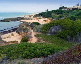 Praia Da Gale Beach spectacular rock formations on the Algarve coast Portugal landscape photograph travel photography colour print or poster