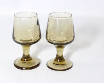 Smoked Pedestal Glass Cordials Cups / Shot Glasses Set of 2