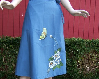Vintage Wrap Skirt   1960s Blue Skirt  Hand Painted Skirt with Daisies and a Butterfly