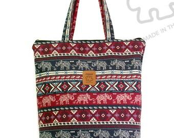 Elephant bag, tote bag, burgundy& Blue, Graphic tote bag, Canvas Bag, Handbag, shoulder bag, Zipper bag