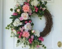 Summer Wreath-Spring Wreath-Hydrangea Wreath-Garden Wreath-Summer Wreath for Door-Designer Wreath-French Country-Peony Wreath-Wedding Decor