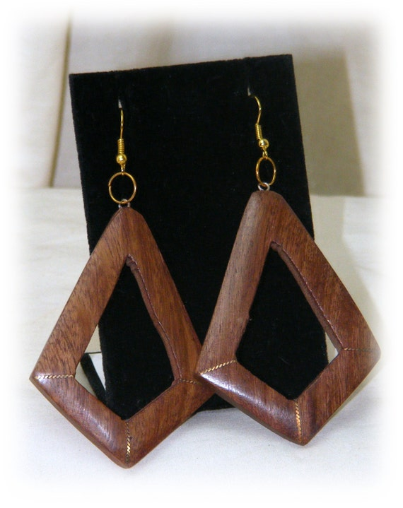 WOODEN EARRINGS . . Smokin' Hot . . Never Worn