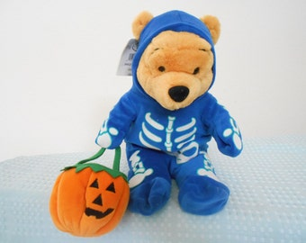 Disney Large Plush Skeleton Pooh Big 13' Tall/No Beans Just Plump and Plush/Great Halloween Decoration/ New With Disney Store Tags/90's