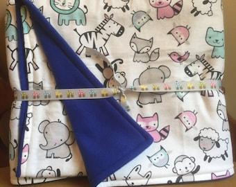 Baby Zoo Animal Print Flannel With Blue Fleece Back Baby Blanket