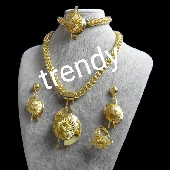 4pc big costume jewelry set high quality gold