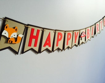 Handmade Birthday Banner - Woodland Theme x1