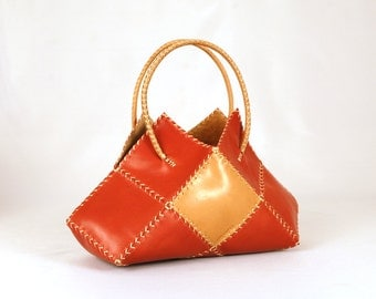"Top Handle Bags. Red bags. Handmade bags. Leather bags. For women. Original gift. Gift for her.  ""Chessy Bag"""