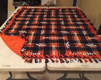 Beautiful, hand tied, fleece Broncos blankets