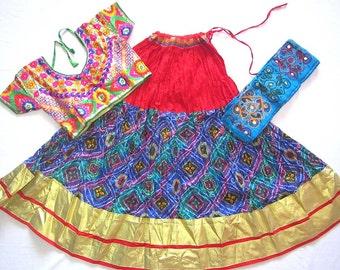Navratri chaniya choli Red and Blue colour with Bhandni Printed lace work Lehenga Choli by Indian Designer.