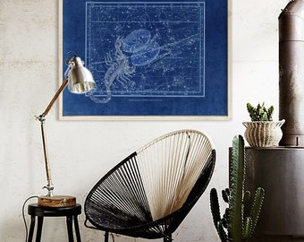 "Scorpio sign print 1822 Vintage Scorpio constellation zodiac star map, 4 sizes up to 36x30"" 90x75cm Astrological - Limited Edition of 100"