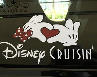Disney Cruise Decal - Disney Cruising Decal - Disney Cruisin' Decal - Disney Cruise Car Decal - Mickey Minnie Heart Disney Cruising - Decal
