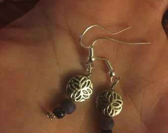 Silver Purple Bead Earrings
