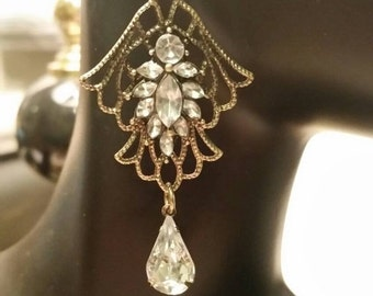 Summer Clearance Crystal and Burnished Gold Dangle Earrings.