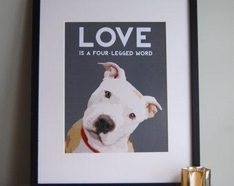 Art, Illustration, Print, Dog Art, Digital Print, Pit Bull, Pit Bull Art, Pit Bull Dog Art, Pit Bull Dog Illustration