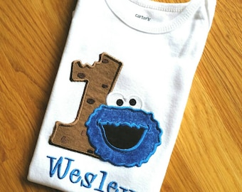Personalized Embroidered Cookie Monster Birthday Shirt 1st 2nd 3rd  Birthday Bodysuit ot T Shirt.   Any age - Boy or Girl