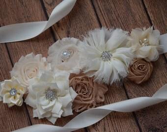 Sash, natural color Sash, #2 ,  flower Belt, maternity sash