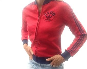 70s vintage ADIDAS tracksuit jacket CLUB ADIDAS Ventex red blue clover