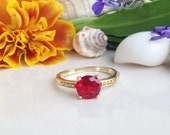 20% off-SALE!! Ruby ring - Red Ring - Fuchsia Jewelry - Vintage Band - Gold Ring - Solitaire Ring - Bridal Jewelry - Simple Ring