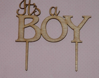 "Wooden Rustic ""Its a BOY"" Cake Topper, Baby Shower Diaper Party Cake Decoration"