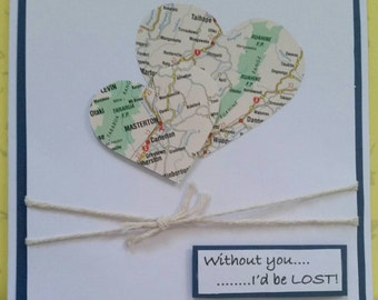 Travel/long distance/relationship 'Without you, I'd be lost' greeting card