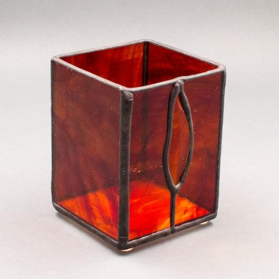 red stained glass votive candle holder with amber bevel kolor. Black Bedroom Furniture Sets. Home Design Ideas