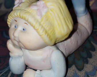 Blonde Cabbage Patch Kid Figurine Girl Resting Her Head in Her Hand 1984, 1985 Edition