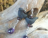 Reserved For Amanda- Black bird earrings with garnet and amethyst.