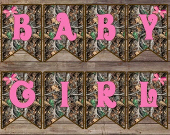 Camo and Pink Baby Girl Banner/ Camo Baby Shower/ Pink and Camo/ Baby Shower/ Baby Girl Camo Banner/ Baby Girl Banner
