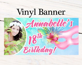 Masquerade Ball Birthday Banner ~ Sweet 16th Birthday Personalized Banner -Watercolor Mask Large Photo Banner- Custom Banner