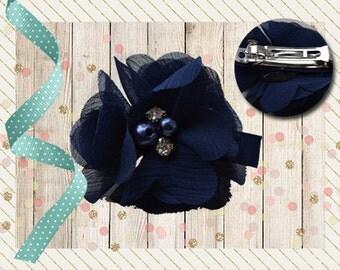 Hair clip, type French Barrette-white, light pink, dark blue