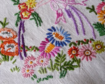 "Hand Made Vintage Tablecloth Embroidered Linen  'In a Country Garden'  42"" x 40"" 107cms x 101cms"