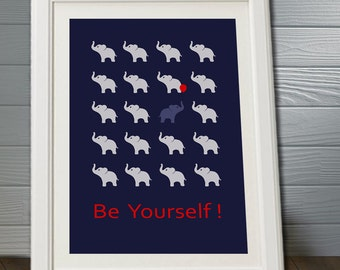 "poster "" Be yourself !"" with elephants, baby nursery, baby wall art, nursery print, playroom, minimalist poster"