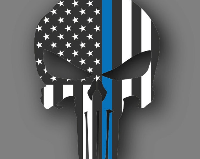 Punisher Blue Lives Matter American Flag Die Cut Vinyl Decal Sticker