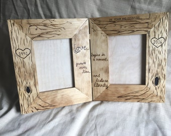 Double Then & Now wood frame, love grows, Tree picture frame, wood burned, heart, initials engraved, anniversary gift, 5x7 double