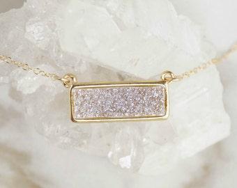 Light Druzy Bar Necklace, Raw Stone Necklace, Bar Necklace, Quartz Druzy Necklace, Boho Necklace, Druzy Necklace, Peach Druzy, White Druzy