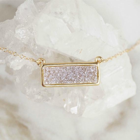 Light Druzy Bar Necklace