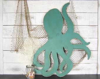 Wooden Octopus Sign Nautical Octopus Art Under The Sea Nautical Nursery Rustic Beach Decor Kraken Nautical Art Tentacle Beach Wall Decor